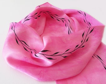 Pink Silk Scarf, Hand Painted Pink Silk Scarf, Pink Silk Scarf With Hand Drawn Black Leaf Design, Pink Scarf