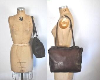 Brown Leather Purse / 1970s Shoulder Bag