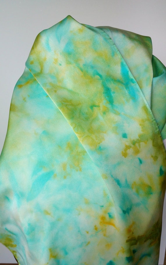 Paradise scarf - multicolored, blue, green, yellow, gold silk scarf, women's scarves