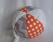 Gray Chevron and Orange Dot Jingle Ball Baby Toy with Minky
