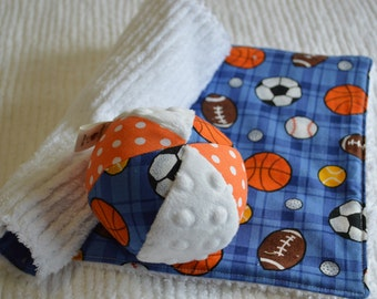 SET: Baby Chenille Burp Cloth and Jingle Ball SPORTS Theme