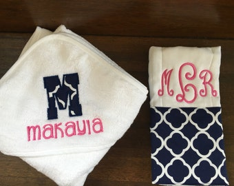 Hooded Baby Towel and Burp Cloth Set