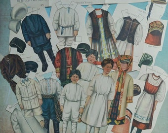 Antique Lettie Lane Magazine Paper Dolls Russian Boys and Girl