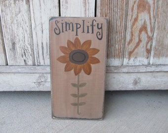Primitive Sunflower on Stem Summer Fall Hand Painted Wooden Sign GCC6366