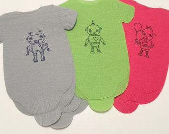 Baby shower napkins!  Baby romper shaped or bib shaped napkins for your special party - Robot theme!