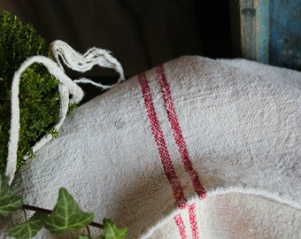 Nr. A502 : grain sack,  antique linen, FRENCH RED;  pillow benchcushion;  wedding decoration; christmas, thanksgiving; gift bag
