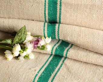 R 23 antique hemp linen SPRING GREEN upholstery 29.511yards handloomed STAIRUNNER benchcushion Beachhouse look