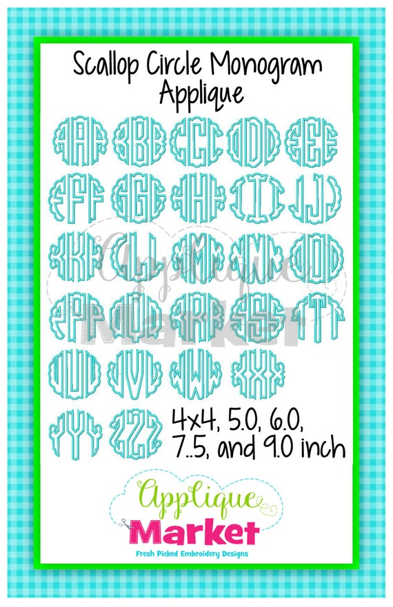 machine embroidery design scallop circle applique monogram font instant download from tmmdesigns