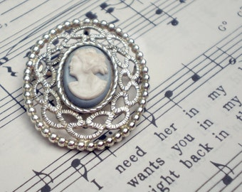 Sarah Coventry Cameo Brooch, Pin, Pendant, Vintage Book Piece, White on Blue Plastic, Psyche Bride of Cupid Motif, Signed Costume Jewelry
