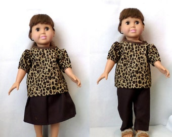 18 in Doll  3 pc Leopard Print Outfit- Top, Skirt, and Pants