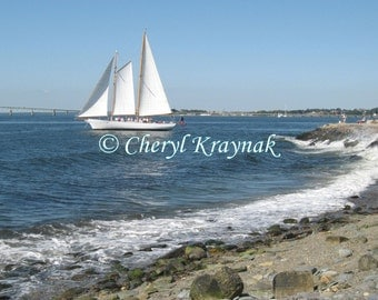 Sailboat and Waves at Newport, Rhode Island - Custom Photographic Print