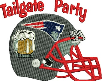 Football tailgate beer party machine embroidery pattern