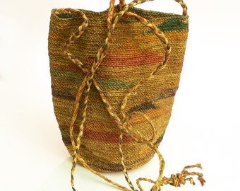 "Hand Woven Shigra Bag from Ecuador natural fibers tiny weave 8 1/2"" tall Vintage possibly Antique SEE CONDITION NOTES"