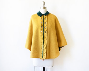 vintage wool cape, mustard yellow Austrian cape, 60s wool and velvet cape poncho