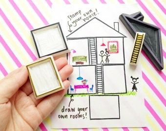 doll house stamp set. build a house hand carved rubber stamps. diy house map. learn drawing. roll playing. holiday family crafts. set of 4