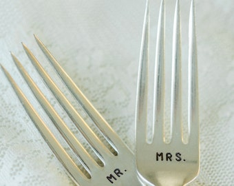 Mr and Mrs Wedding Forks Hand Stamped Vintage Flatware For Your Wedding Table