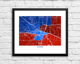 Oxford Map Print.  Choose the Colors and Size.  University of Mississippi Grad Gift.  Ole Miss Art.