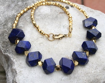 Chunky Lapis Necklace, Lapis Statement Necklace, Lapis Lazuli Necklace, Large Lapis Boho Necklace,  Rustic Blue Stone Necklace