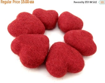 ON SALE 15% OFF Felt Red Heart - 6 Pure Wool Beads 30mm