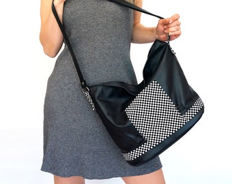 "lined leather tote - zipper handmade leather bag –  black bag with pockets - genuine leather crossbody bag - purse with pockets - ""NEREZZA"""
