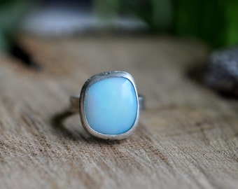 Sterling Opal Ring, Oxidised Sterling Silver Stacking Ring, Gemstone Metalwork Gold Ring - Feather Ring in Opal