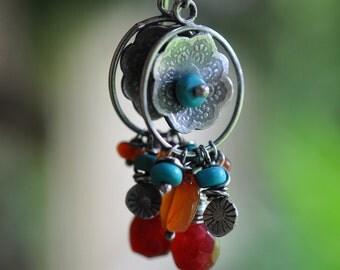 Sterling Turquoise Ruby Earrings, Sterling Silver Chandelier Earrings, Gemstone Dangly Earrings - Gypsy Rose Cluster Earrings