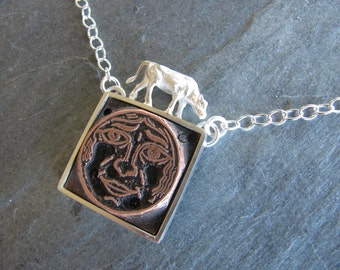 The Cow Jumped Over the Moon - vintage printers block, cast cow, sterling silver Necklace