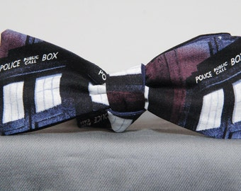 Dark Tardis Police Box Bow Tie
