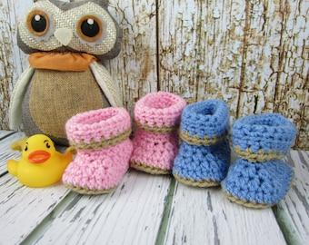 Baby Booties, Crochet Baby booties, Newborn booties,  0-3 month booties, 6-12 month booties, blue boy booties, pink girl booties