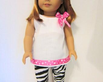 "18"" Doll Clothes Pants, Doll Zebra pants, White doll shirt, pink white polka dots, handmade Doll Clothes, 18"" Doll Zebra Pants Doll Clothing"