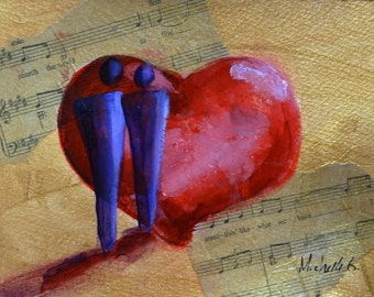 Abstract Figure Heart Art, Search The World For You. Love Song Art. Original Fine Art Painting. Red, Gold, Small Artwork, Daily Painting