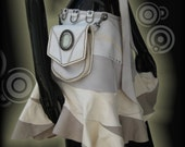 White Leather Ruffle Skirt with Attaching Pocket