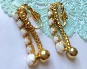 Vintage Long Dangle Milk Glass & Goldtone Chain Earrings - Vintage Bridal Jewelry