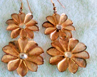 Vintage Flower Mesh Earrings, For Pierced Ears, stil pretty to wear the way they are