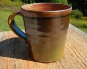 Temmoku coffee mug, wood-fired mug, pottery, tea mug, stoneware, split-fire pottery, purple, plum, green, ceramic,