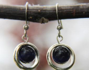 boucles d'oreilles argent, bijoux mode, Boucles d'oreille noires,earl earring,mode jewelry, earrings,gift, bal, perle, silver, round, cercle