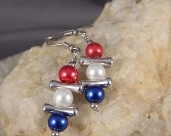Red White and Blue Dangle Earrings