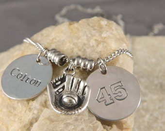 Personalized Name and Numer Baseball Necklace