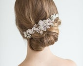 Champagne Pearl Crystal Wedding Comb, Floral Bridal Hair Comb, Wedding Headpiece
