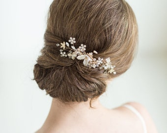 Gold Bridal Hair comb, Wedding Head Piece, Rhinestone Hair comb, Wedding Hair Accessory