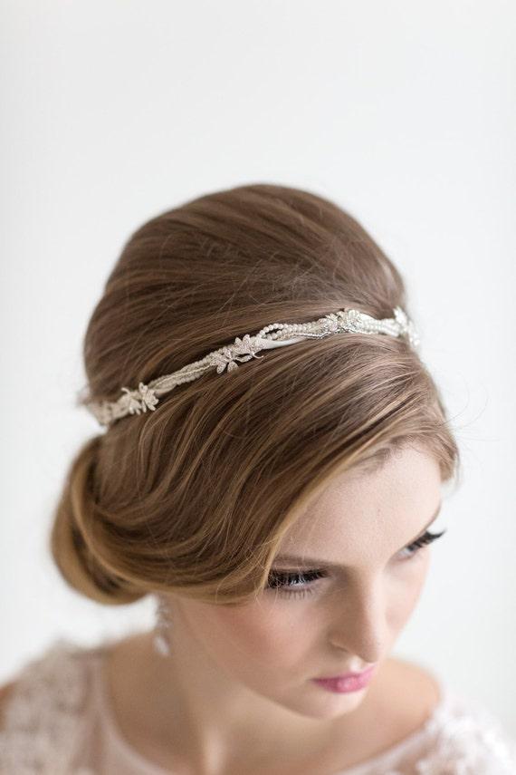 bridal headband bridal ribbon headband wedding hair accessory