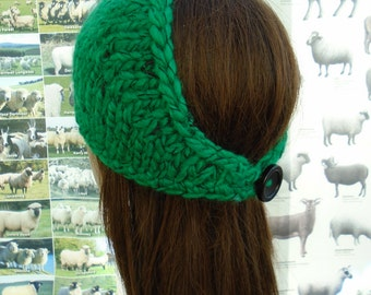 GREEN and BLACK ear warmer soft and warm wool blend a unique creation by irish granny