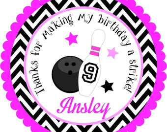 Bowling Stickers, Personalized Bowling Pin Stickers, Bowling Birthday Party - Set of 12