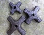 Artisan made high fired ceramic pendants - Katanga Crosses - set of 3