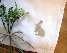 spring napkin / bunny silhouette / easter table / embroidered napkin / napkins / white cotton / easter bunny / spring /