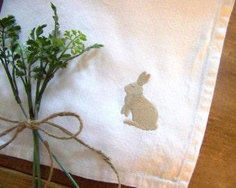 free shipping - spring napkin / bunny silhouette / easter table / embroidered napkin / napkins / white cotton / easter bunny / spring /