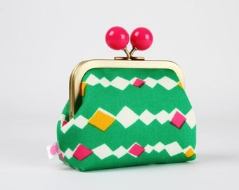Metal frame coin purse with color bobble - Diamond lights in green - Color dad / Japanese fabric / White emerald orange hot pink