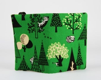 Fabrix card holder - Cats in trees / Black and white cats / Woodland forest / Green pale yellow / Kawaii japanese fabric