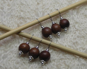 knitting stitch markers - dark chestnut brown wood and silver - snag free loops - 10mm beads - set of 6 robles wood - three sizes available
