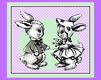 Vintage 1960s-Mr & Mrs BUNNY RABBIT-Soft Toy-Sewing Pattern-Faux Fur-Swing Jacket-Twirl Dress-Scallop Bonnet-Transfer-Mega Rare-Collectible